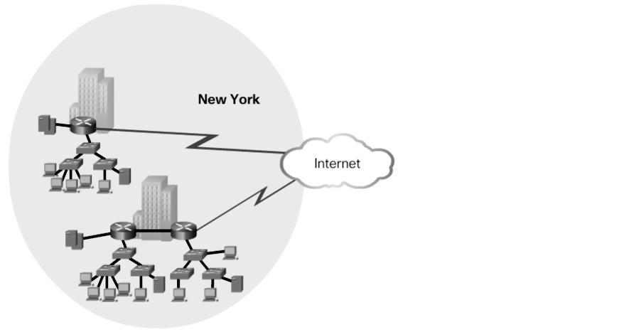 Chapter 1: LAN Design 5 In Figure 1-2, the company grows to multiple locations in the same city.
