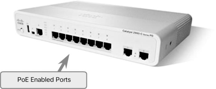 The Cisco Catalyst 2960-C and 3560-C Series compact switches support PoE passthrough.
