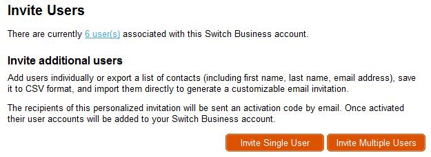 Inviting a User to Your Business Account Login with your Switch ID and password at https:// switch.egress.