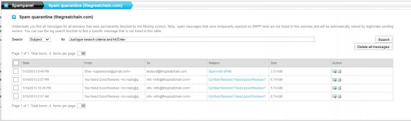 By default, all messages are shown, although you can also search by subject, sender, and recipient.