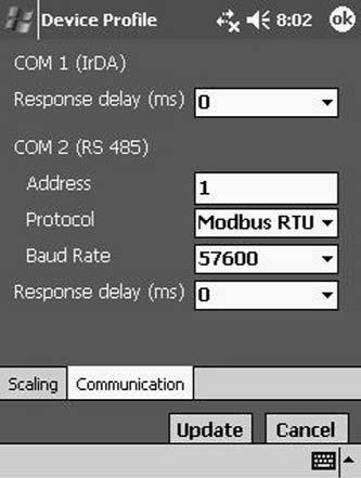 Communications Use the pull-down windows to make the following selections: Response Delay (COM 1 and COM 2): 0-750 ms (increments of 50ms) Protocol: Modbus RTU or Modbus ASCII Baud Rate: 9600-115,200
