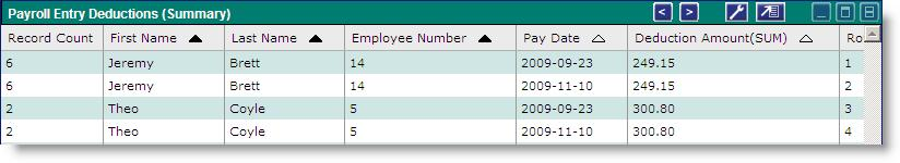 If you apply the above settings, you will receive each employee s total Deduction Amounts per day date: If you remove the Pay Date column from the Display Fields tab, you will receive each employee s