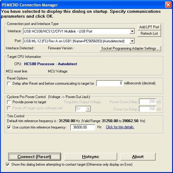 7. Click the Connect (Reset) button in the initial dialog window. Figure 3.