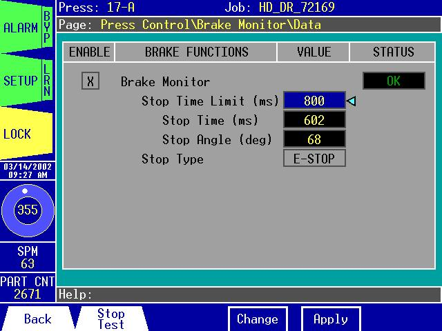 Press Control\Brake Monitor\Data: Figure 3.20: The Press Control\Brake Monitor\Data The Press Control\Brake Monitor\Data page allows you to: 1. View the Brake Monitor alarm status.