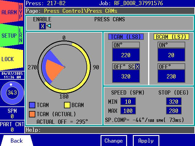 Press Control\Press CAMs: Figure 3.24: The Press Control\Press CAMs The Press Control\Press CAMs page allows you to: 1. Enable or disable the Press CAMs.
