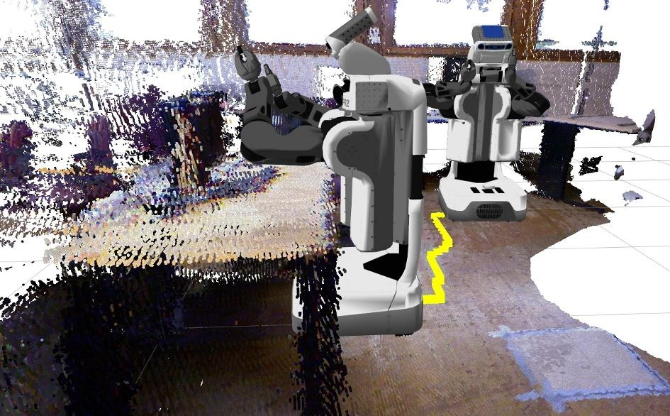7 Experiments Figure 7.11: Table docking with a PR2 robot in a 3D map using Voronoi planning.