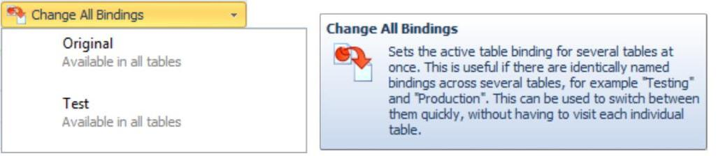 The original binding for a data table is considered the Default binding (Active Binding is Default ).