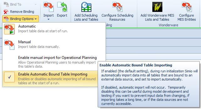 Note that this does not temporarily remove table bindings but will bypass the automatic import at start of