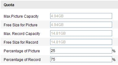 Figure 7-3 View Disk Status 3. Define the quota for record and pictures. (1) Input the quota percentage for picture and for record.
