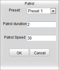 5.4.3 Setting / Calling a Patrol Note: No less than 2 presets have to be configured before you set a patrol. 1. Click to enter the patrol configuration interface. 2. Select a path No.