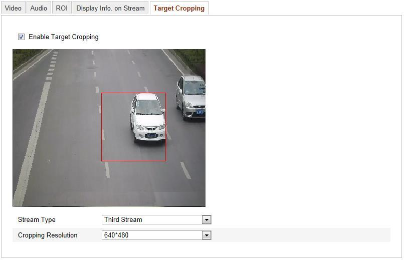 Figure 6-33 Target Cropping 6.5 Configuring Image Parameters 6.5.1 Configuring Display Settings Purpose: You can set the image quality of the camera, including brightness, contrast, saturation, hue, sharpness, etc.