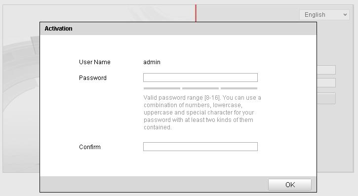 Figure 2-3 Activation Interface(Web) 3. Create a password and input the password into the password field.