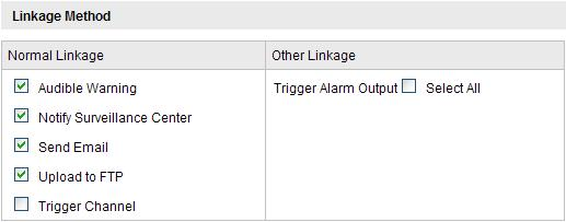 3. Set the Alarm Actions for Motion Detection. Check the checkbox to select the linkage method.