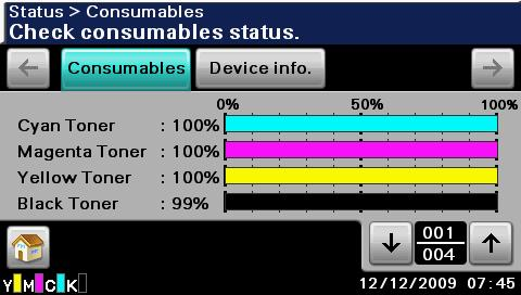 Status screen 1 2 3 No. Indication Description 1 [Consumables] Press to display a screen showing the status of consumables.