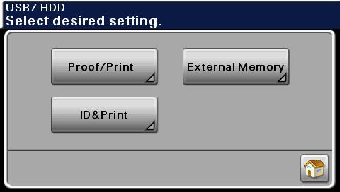 USB/HDD screen 1 2 3 4 No. Indication Description 1 [Proof/Print] Press to print a print job saved on hard disk. [User Name] Select a user.