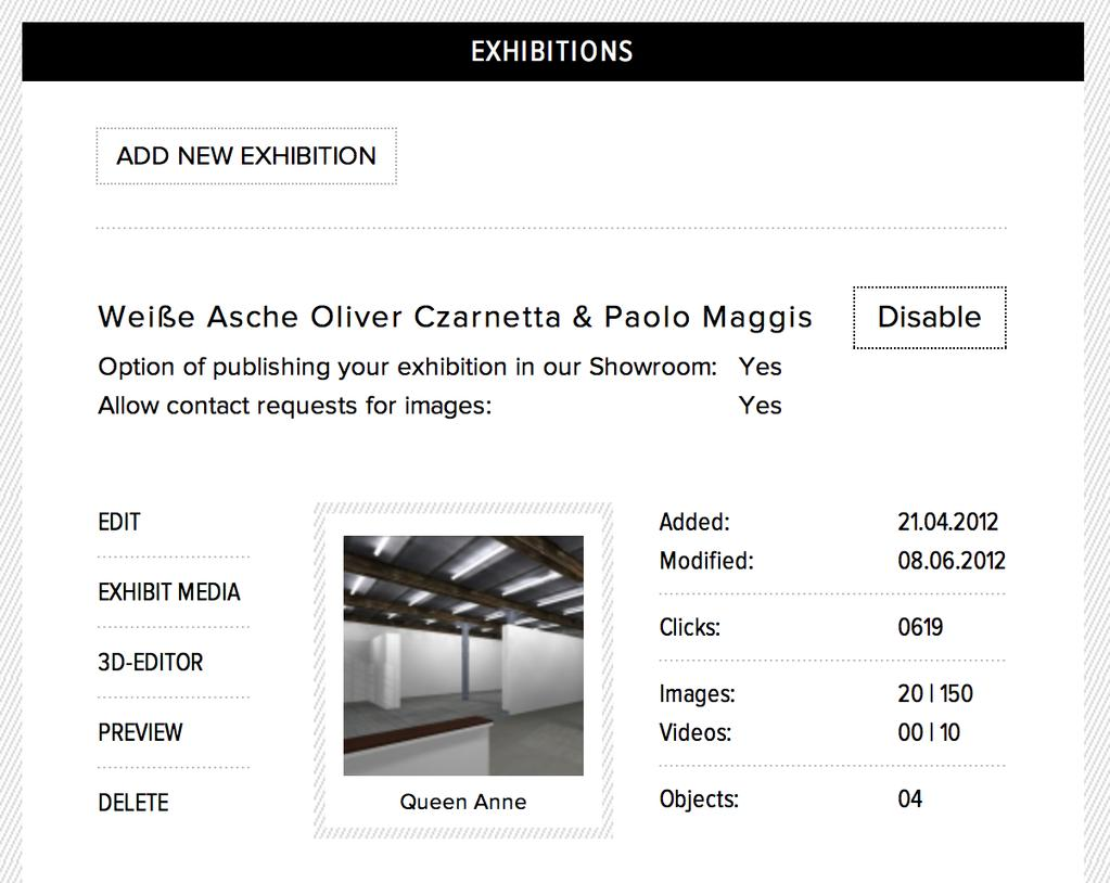 EXHIBITIONS In this screen you manage your exhibitions. SUMMARY Click the EXHIBITION button to view a summary of all your uploaded galleries.