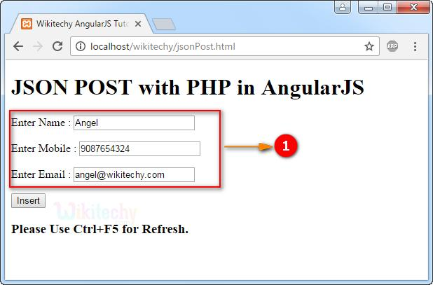Sample Output for JSON post with PHP in AngularJS: 1.