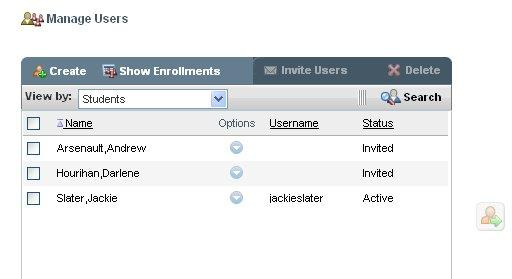 The Enrollments tab consists of following sections: Manage Users Manage Templates and Sections Enroll users to Templates/