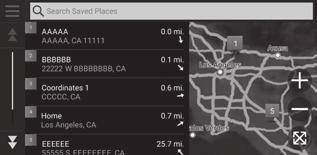 You can also save your current location. From the map screen, select the vehicle icon. Select Save.