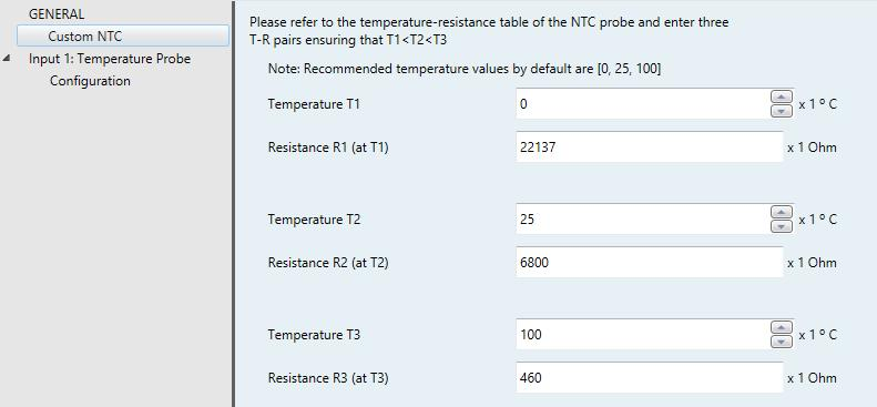 This functionality has been optimised for NTC probes which offer resistance values between 3.3 and 47 kohms at 25ºC.