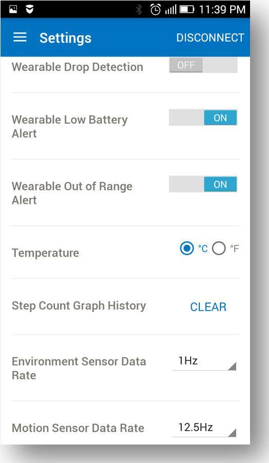 Figure 3-20. Low Battery 3.2.3. Settings Screen In Settings menu, the user can manually turn on or off, the alert notifications and configure the ODR of sensors.