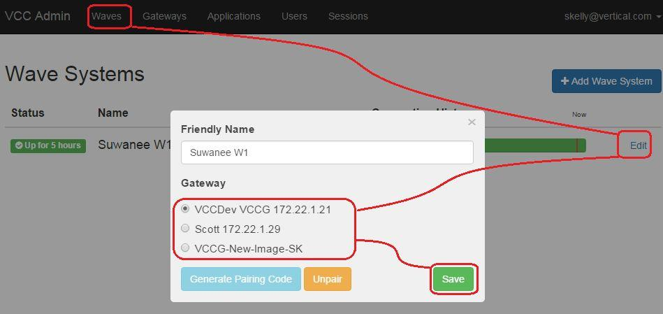 Link to Wave Once the VCCG has paired, if you are an end user you will need to have installation services connect to your Wave.