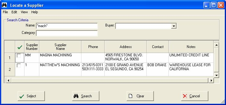 Tools Supplier Search Use this option to locate an existing Supplier record in Manfact s VENDOR file.