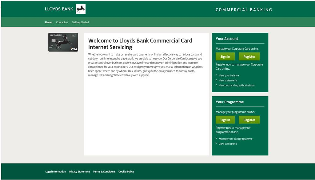 Introduction Welcome to the Lloyds Bank Commercial Card Internet Servicing (CCIS) Getting Started Guide.