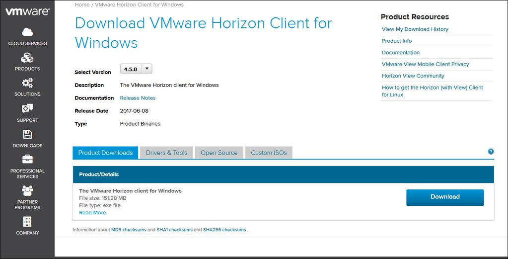 The Download VMware Horizon Client for Windows page is displayed.