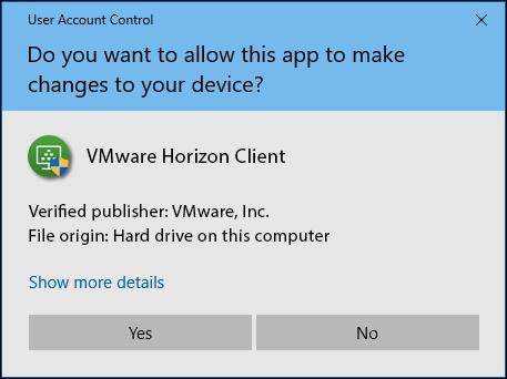 7. If prompted to allow the VMware Horizon app to make changes, click the Yes button. 8.