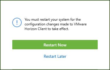 9. The VMware Horizon Client installation progress is displayed. Click the Finish button to continue. 10. You must restart your computer to complete the installation.