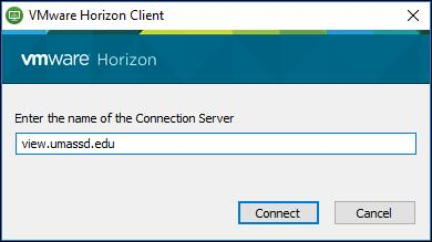 13. The VMware Horizon Client window opens. Click the New Server button at the top.