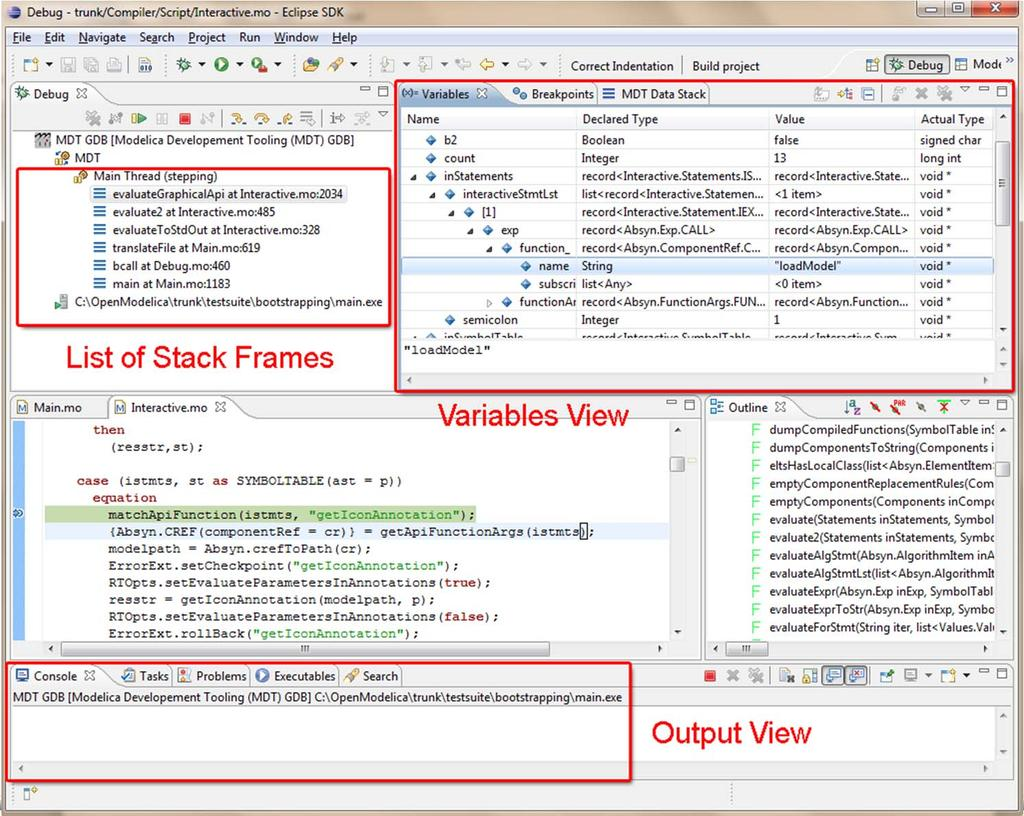 Algorithm Debugger in Eclipse OpenModelica MDT Environment, Now also in OMEdit Eclipse plugin MDT (Modelica Development