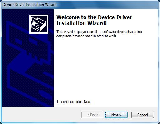 7. As this is the first time that your BRT-12 has been connected to your PC, the Device Driver