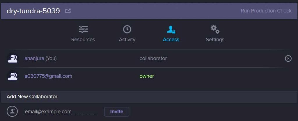 app, the user gets directed to the Access page as shown in the following screenshot: You can invite or remove collaborators on