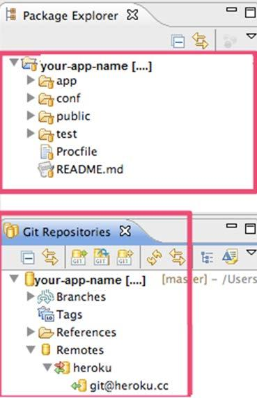 4. Once the application is created, you can open Eclipse's Package Explorer folder and notice the newly created directory structure for the app.