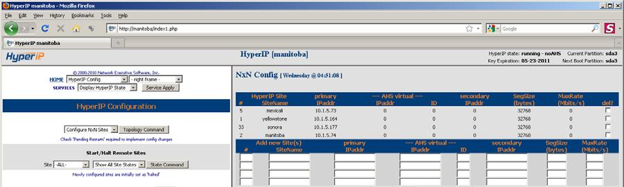 The HyperIP Configure NxN frame is launched from the HyperIP Configuration webpage and is used to add information about the sites.