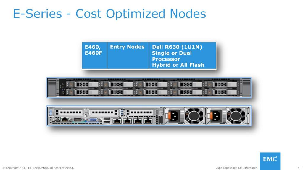 The E-Series utilizing Dell s R630 is a entry VxRail Appliance node for remote office, stretch cluster or entry workloads in a 1U1N chassis configuration.
