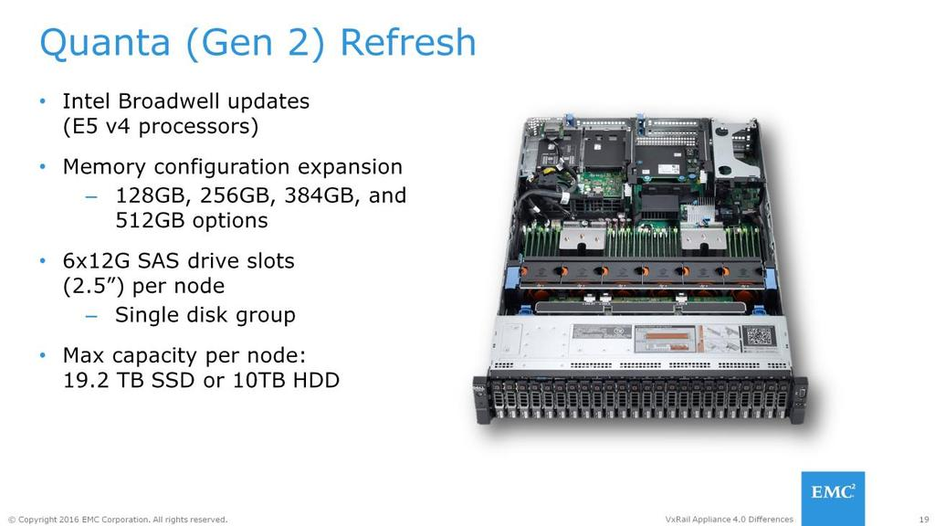 Starting with Version 4.0, the VxRail Appliance all Quanta (Gen 2) servers will be utilizing the Intel Broadwell family processors.