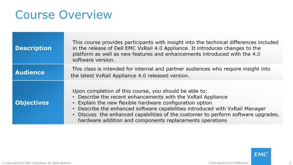This course provides insight into the technical differences introduced in VxRail Appliance version 4.0.