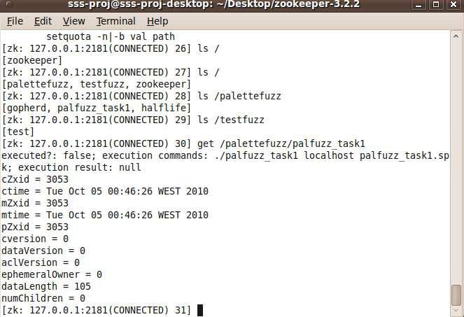 Figure 4.7 Record job and task in ZooKeeper Monitor those fuzzing tasks under each fuzzing job.