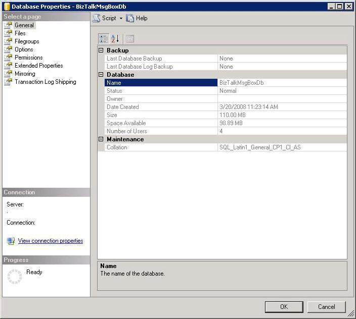 4. In the Database Properties dialog box, select the Filegroups page.