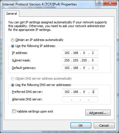 (Configured a static IP address manually within the same subnet of