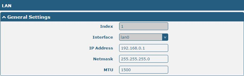 3.7 Interface > LAN This section allows you to set the related parameters for LAN port. There is one LAN port on R3000 Lite Router, which is ETH.