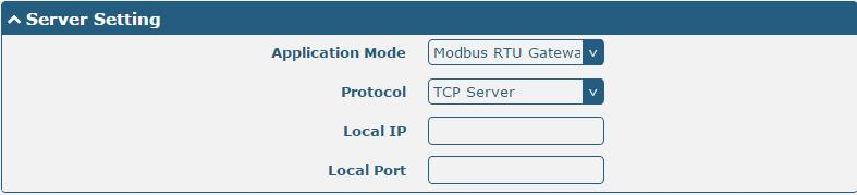 The window is displayed as below when choosing Modbus RTU Gateway as the application mode and TCP Server as the protocol.