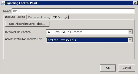 Adding a rule to the inbound routing table for the new SCP 1. Still on the Inbound Routing tab, click Edit Inbound Routing Table. 2.