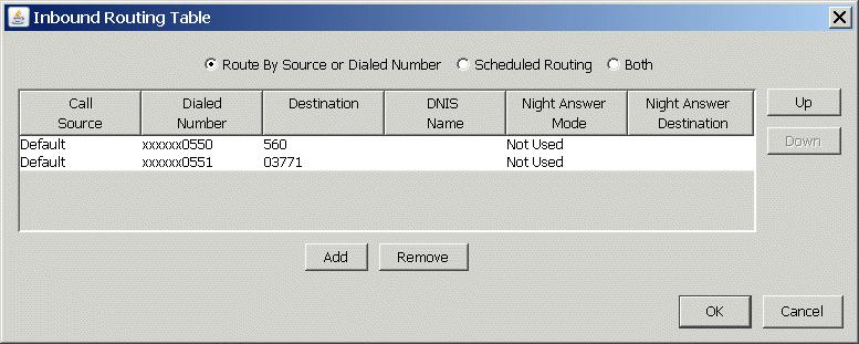 5. Click OK to save your changes to the Inbound Routing table.