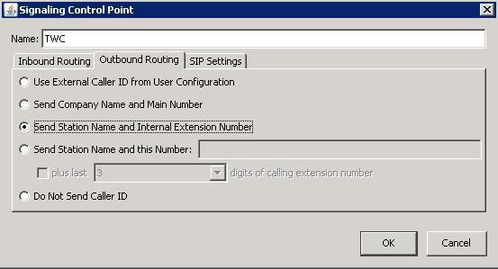Still in the Signaling Control Point dialog, select the Outbound Routing tab. 2.