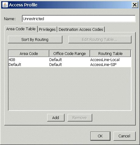 3. The Access Profile dialog