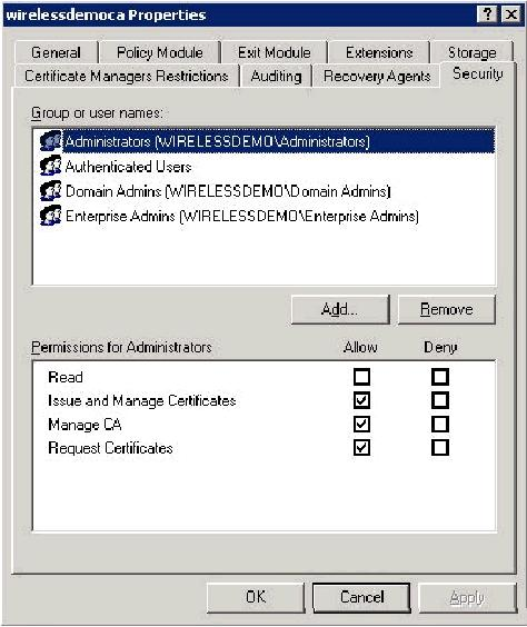 5. Click OK to close the wirelessdemoca CA Properties dialog box, and then close Certification Authority.